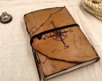 World map leather Personalized Travel journal| explorer notebook | Custom Adventure Journal | Quote Porsonalization Journal
