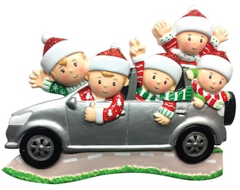 Personalized  5 Family in Car Christmas Ornament / Road Trip Ornament / Family SUV / Hand Personalized with Names and Message