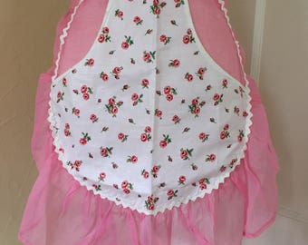 Vintage Pink Organza Half Apron with Front Pocket Panel-Roses- Ruffle and  Rick Rack Trim