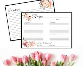 Boho recipe card, recipe card insert, floral recipe card, rustic recipe card, flora recipe cards, printable recipe, bridal recipe card, A101