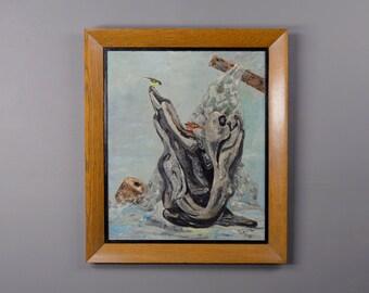 Vintage Painting 1956 Marine Scene with Birds Truitt Clifford