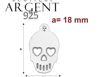 Charm 925 Silver 18mm X 11 mm skull for necklace or earrings
