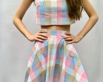 Neopolitan matching two piece coordinates set with crop top and circle skirt handmade by The Emperor's Old Clothes