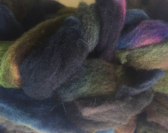 Hand dyed Clun Forest wool roving, handpainted wool for spinning, hand dyed Clun Forest roving, 4oz.