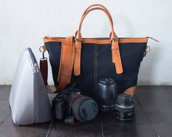 Dslr Camera Bag with Insert with shoulder strap - genuine Leather and canvas shoulder bag - tote bag - Leather with canvas - Black