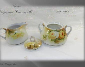 Antique circa 1890-1921, Nippon Sugar Bowl and Cream Pitcher, Yellow Roses