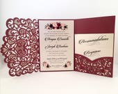 Laser Cut Wedding Invitations Marsala Burgundy Pocket Wedding Invitations Die Cut Laser Cut Jackets Gold Wedding Invites Laser Cut