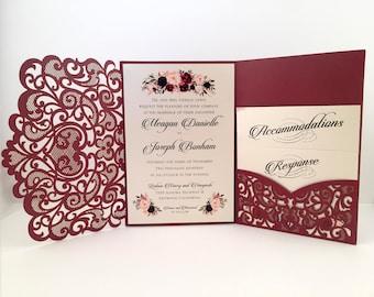 Laser Cut Wedding Invitations Marsala Burgundy Pocket Wedding Invitations Die Cut Laser Cut Jackets Gold Wedding Invites Laser Cut