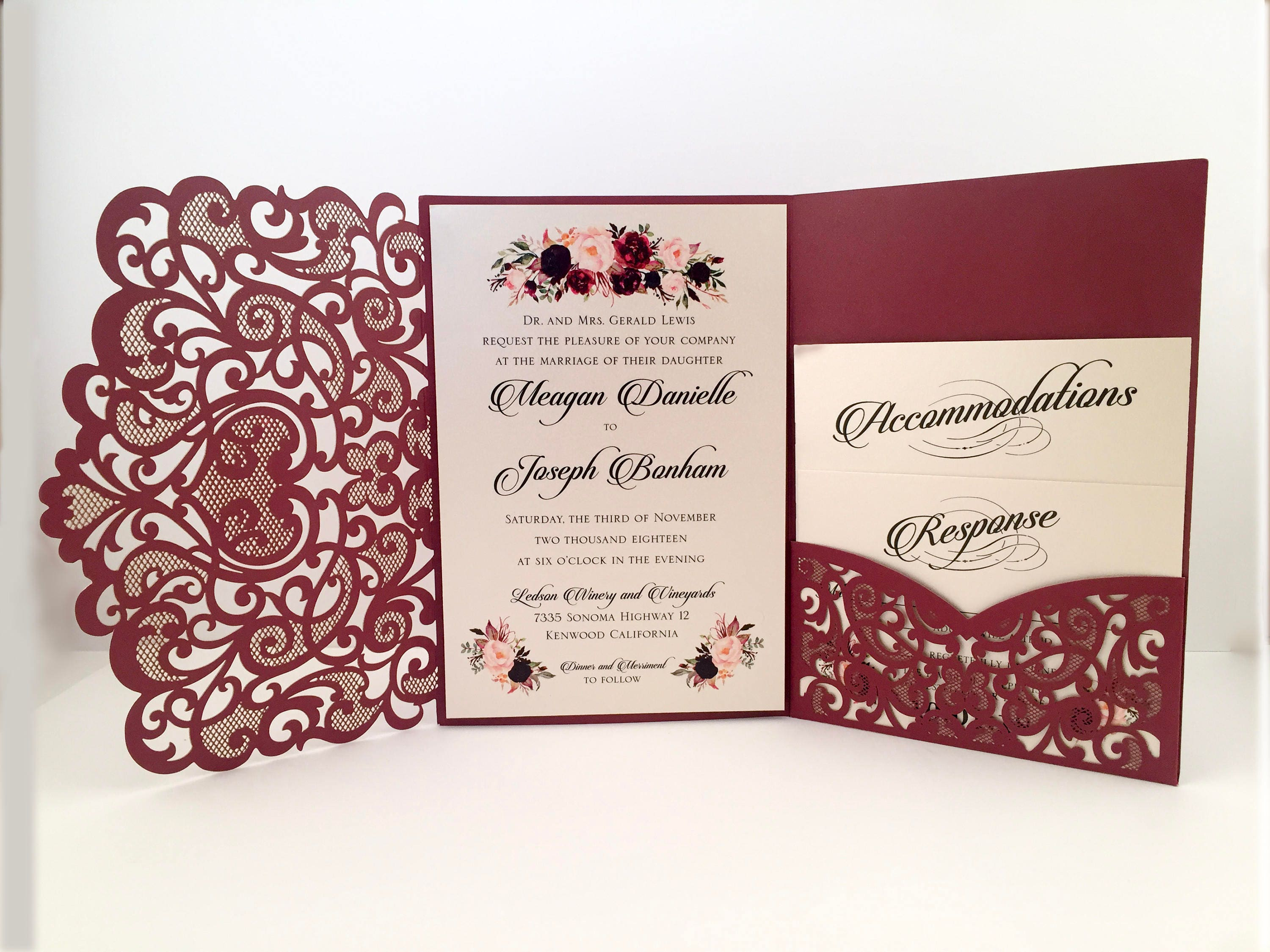 Laser Cut Wedding Invitations Marsala Burgundy Pocket Wedding ...