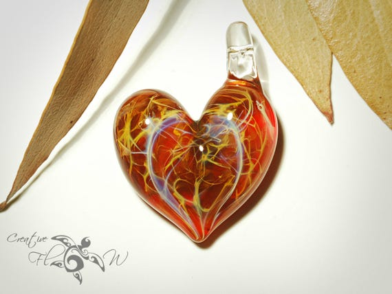 Heart Pendant - Royal Red Heart Pendant - Glass Pendant - Glass Jewelry - Love & Energy - Unique Jewelry - Glass Art - Lush Focal Bead