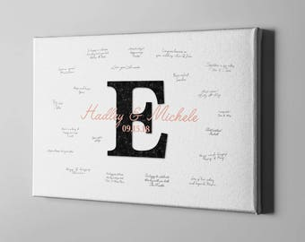 SALE 50% Off Monogram Canvas Guest Book, Modern Black Initial Wedding Guest Book, Wedding Anniversary Gift Ideas for Couples - CGB126