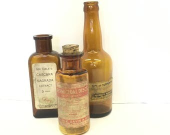 Antique Amber Apothecary bottles / Pharmaceutical jars / Prescription bottle lot / Labels attached /laundry room decor / brown glass bottles
