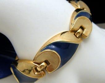 Vintage Crown Trifari Bracelet Blue Enamel Gold Tone 1960s