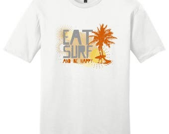 Cool Gift for Surfer Eat Surf and Be Happy Young Men's T-Shirt DT6000 - RV-85