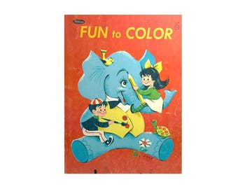 Vintage Childrens Fun To Color Coloring Book 1956 Whitman Publishing Mid Century 50's