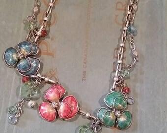 Vintage Pansy Necklace