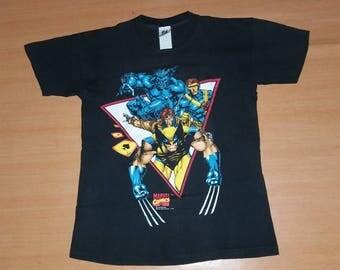 Vintage 1993 X-MEN Wolverine Cyclops Gambit Marvel Comics promo rare M size 90s 80s T-shirt