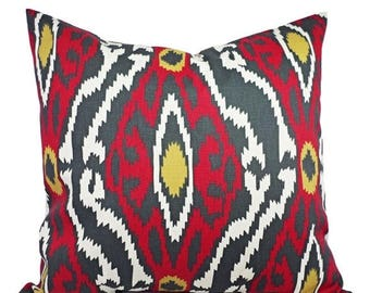 15% OFF SALE Two Ikat Pillow Covers Charcoal Red and Beige - Red Decorative Pillow - Red Ikat Pillow - Accent Pillow -  Pillow Covers - Ikat