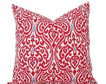 15% OFF SALE Two Decorative Throw Pillow Covers - Red and Beige Ikat - Red Pillow Cover - Red Ikat Pillow Cover - Cushion Cover - 18x18 Inch