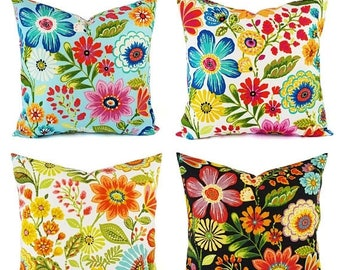 15% OFF SALE OUTDOOR Pillow Cover - Floral Pillow Cover - Bright Pillow - Toss Pillow - Accent Pillow - Custom Throw Pillow - 16 x 16 Inch 1