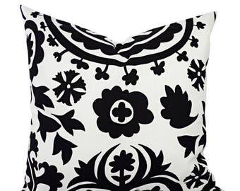 15% OFF SALE 2 Black and White Suzani Decorative Throw Pillow Covers - 12x16 12x18 14x14 16x16 18x18 20x20 22x22 24x24 26x26 Pillow Shams