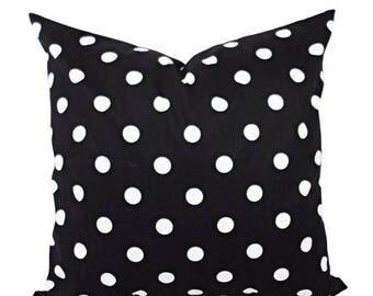 15% OFF SALE Two Black White Decorative Pillow Covers - Two Black and White Pillows - Polka Dot Pillows - Pillow Shams - Black Pillows - Whi