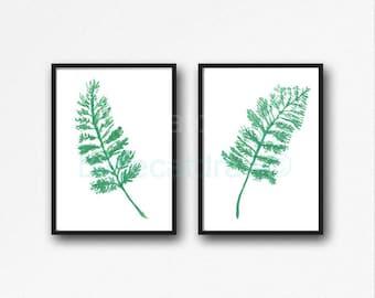 Fern Print Set Of 2 Watercolor Prints Flower Art Ferns Print Green Minimalist Home Decor Wall Art Print Wall Decor Unframed