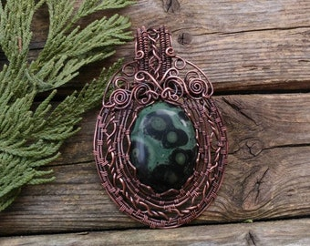Large statement necklace. Kebaba Jasper, Copper Wire Wrapped necklace Pendant. Handmade wire jewelry. Crystal healing.