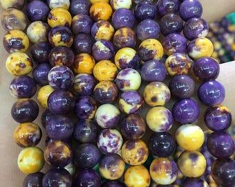 Yellow Purple Rainstone Beads, Loose Gemstone Beads, Smooth Round Beads, 6mm Beads, 8mm Beads, 10mm 12mm