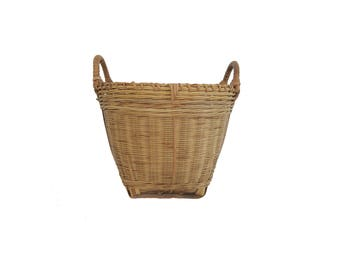 Vintage Small Round Woven Basket With Double Handles