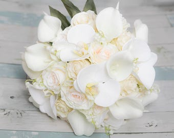 Ivory Champagne Silk Wedding Bouquet - Real Touch Orchids, Callas & Roses Silk Bridal Bouquet