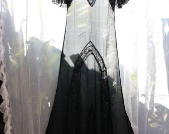 ON SALE 25% Discount Risque Exotic Black Silk Chiffon and Lace late 1920s Maxi Dress