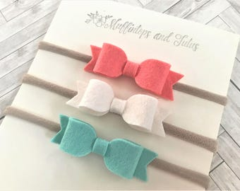 Felt bow headband set - Nylon headbands - coral, ivory and mint