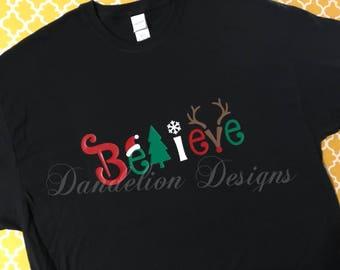 Womens Christmas shirt women's Believe Santa Tree Xmas Reindeer Snowflake