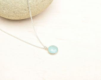 Chalcedony necklace, Blue chalcedony, Sterling necklace, Layering necklace, Gift for her, Minimalist jewelry, Dainty necklace