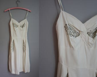 1950's Summer Dress // Soutache with Rhinestones // XS