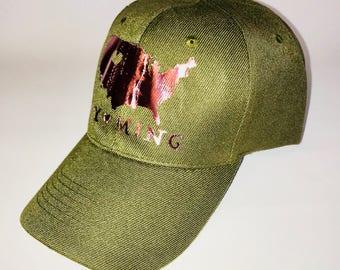 Wyoming Love Metallic Rose Gold Olive Green Baseball Cap, Wyoming United States Shiny Adjustable Baseball Cap Dad Hat, Made in Wyoming, Hat