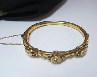 Antique Deco Etruscan14k gold with small diamonds bangle