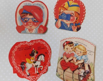 Vintage Valentine's Day Cards - Set of Four
