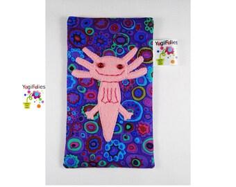 axolotl phone case, axolotl phone pouch, axolotl phone holder, purple phone case, purple phone pouch, purple phone holder, salamander