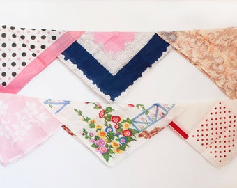 Instant Collection: Bright Vintage Handkerchiefs, Set of 6 Hankies for DIY Projects or Bunting Supply, Pink, Polka Dots, Flowers