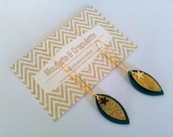 """Earrings gold tone metal and leather """"Jane"""""""