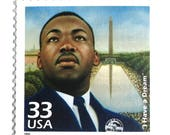 5 Unused Martin Luther King Jr. Postage Stamps // Sixties Civil Rights Leader // Postage Stamps for Mailing