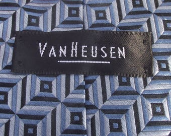 VAN HUESEN TIE,Light Blue Dark Blue TIe,Geometric Blue Men's Tie,100% Silk,Imported Fabric,Men's Accessories,Father's Day Gift,Necktie