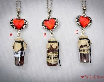 Love Potion - choose your color - love necklace - resin potion - red glow - witch necklace love seeker