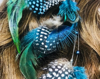 Blue/turquoise feather hair clip. Feather hair clip. Hair extension clip