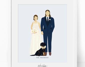 Digital Custom portrait illustration pregnancy announcement wedding portrait personalized valentines day illustration printable print  art