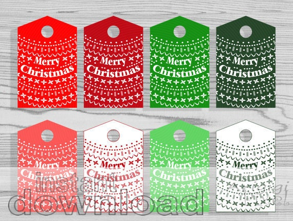 Happy New Year tag, Merry Christmas hang gift tag, red green Nordic pattern, for home made gift, for jars, download holiday printables