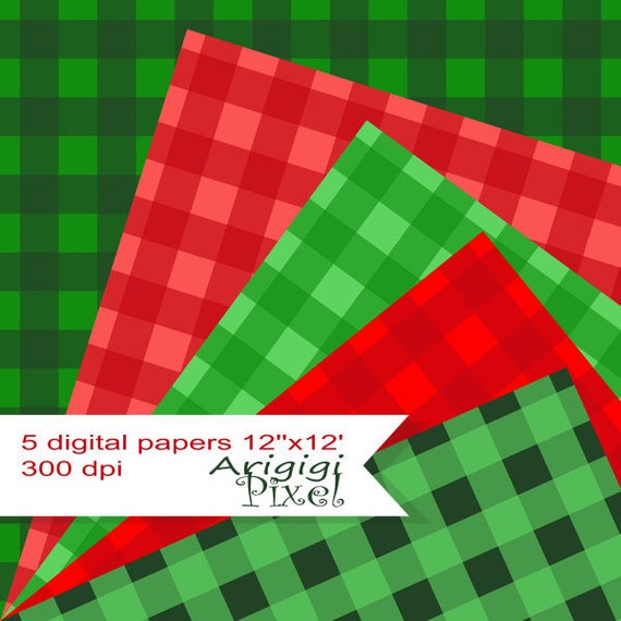 Christmas Gingham Digital Collage Sheet -  green red - scrapbooking papers