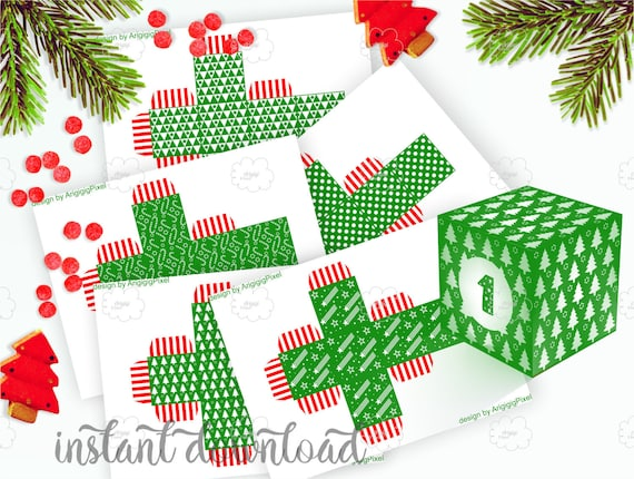 Printable Green Advent Boxes with Number 1-25 - DIY Christmas